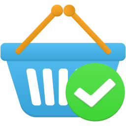 Shopping basket accept icon