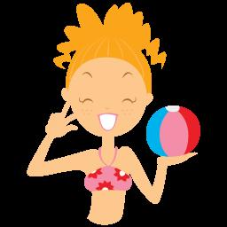 beach girl ball icon