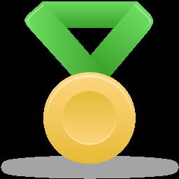 Metal gold green icon